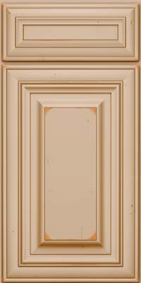 Square Raised Panel - Solid (AA1C) Cherry in Vintage Mushroom w/Cocoa Patina - Base