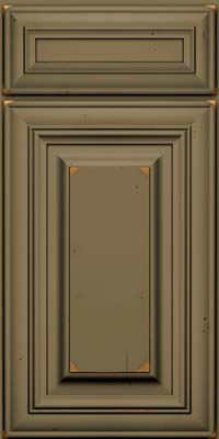 Square Raised Panel - Solid (AA1C) Cherry in Vintage Sage w/Onyx Patina - Base