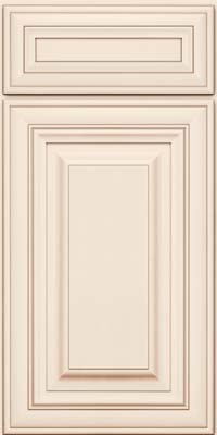 Square Raised Panel - Solid (AA1M) Maple in Dove White w/Cocoa Glaze - Base