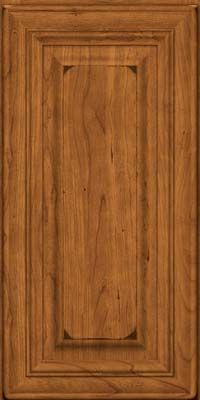 Square Raised Panel - Solid (AA1C) Cherry in Burnished Golden Lager - Wall