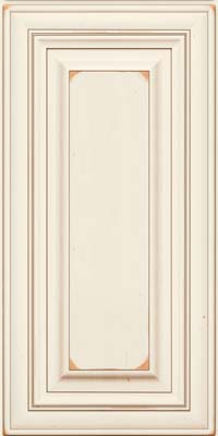 Square Raised Panel - Solid (AA1C) Cherry in Vintage Dove White w/Cocoa Patina - Wall