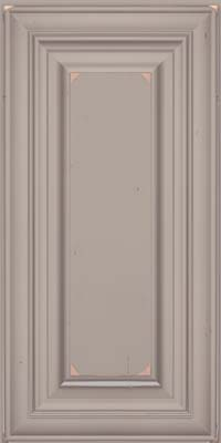 Square Raised Panel - Solid (AA1C) Cherry in Vintage Pebble Grey w/ Coconut Patina - Wall