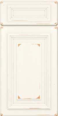 Square Raised Panel - Solid (AA3C) Cherry in Vintage Dove White - Base
