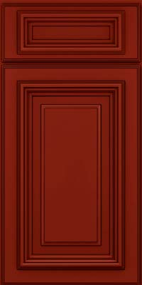 Square Raised Panel - Solid (AA3M) Maple in Cardinal w/Onyx Glaze - Base