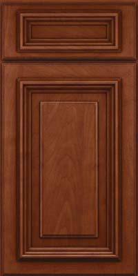 Square Raised Panel - Solid (AA3M) Maple in Chestnut w/Onyx Glaze - Base