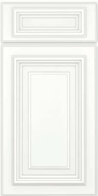 Square Raised Panel - Solid (AA3M) Maple in Dove White w/ Cinder Glaze - Base