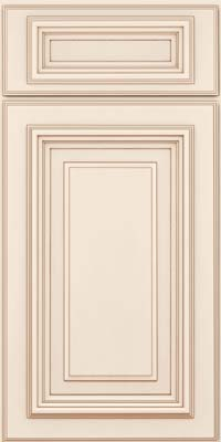 Square Raised Panel - Solid (AA3M) Maple in Dove White w/Cocoa Glaze - Base