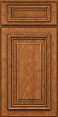 Square Raised Panel - Solid (AA3M) Maple in Praline w/Onyx Glaze - Base