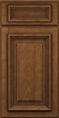 Square Raised Panel - Solid (AA3M) Maple in Rye w/Onyx Glaze - Base