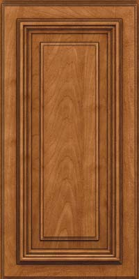 Square Raised Panel - Solid (AA3M) Maple in Praline w/Onyx Glaze - Wall