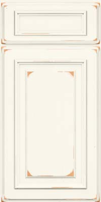 Square Raised Panel - Solid (AA4C) Cherry in Vintage Dove White - Base