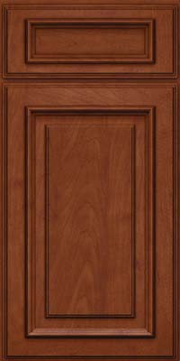 Square Raised Panel - Solid (AA4M) Maple in Chestnut w/Onyx Glaze - Base