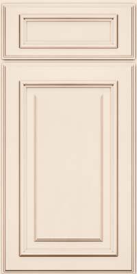 Square Raised Panel - Solid (AA4M) Maple in Dove White w/Cocoa Glaze - Base