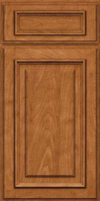 Square Raised Panel - Solid (AA4M) Maple in Praline w/Onyx Glaze - Base