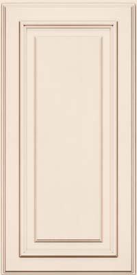 Square Raised Panel - Solid (AA4M) Maple in Dove White w/Cocoa Glaze - Wall