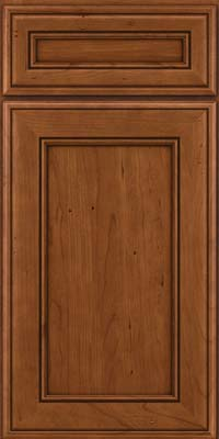 Square Recessed Panel - Veneer (AA6C) Cherry in Antique Chocolate w/Mocha Glaze - Base