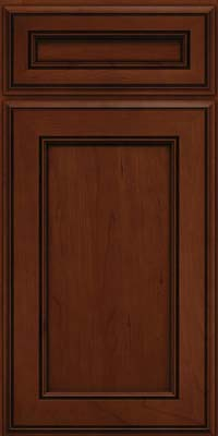 Square Recessed Panel - Veneer (AA6C) Cherry in Autumn Blush w/Onyx Glaze - Base