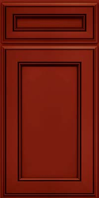 Square Recessed Panel - Veneer (AA6M) Maple in Cardinal w/Onyx Glaze - Base