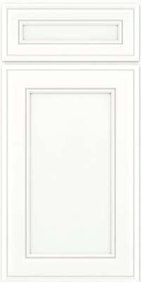 Square Recessed Panel - Veneer (AA6M) Maple in Dove White w/ Cinder Glaze - Base