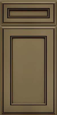 Square Recessed Panel - Veneer (AA6M) Maple in Sage w/Cocoa Glaze - Base