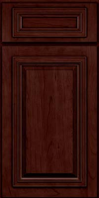 Square Raised Panel - Solid (AA7C) Cherry in Cabernet w/Onyx Glaze - Base