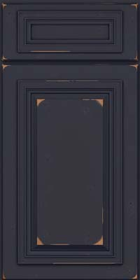 Square Raised Panel - Solid (AA7C) Cherry in Vintage Midnight w/ Onyx Patina - Base