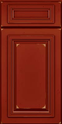 Square Raised Panel - Solid (AA7C) Cherry in Vintage Cardinal w/Onyx Patina - Base
