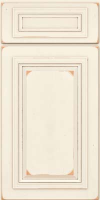 Square Raised Panel - Solid (AA7C) Cherry in Vintage Dove White w/Cocoa Patina - Base