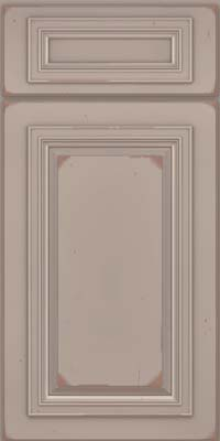 Square Raised Panel - Solid (AA7C) Cherry in Vintage Pebble Grey w/ Cocoa Patina - Base