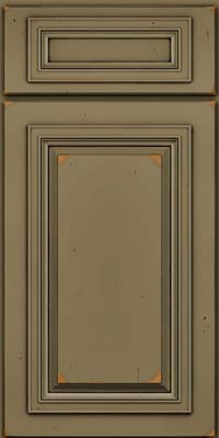 Square Raised Panel - Solid (AA7C) Cherry in Vintage Sage w/Onyx Patina - Base