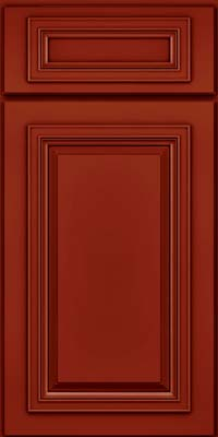 Square Raised Panel - Solid (AA7M) Maple in Cardinal w/Onyx Glaze - Base
