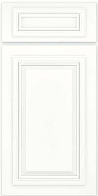 Square Raised Panel - Solid (AA7M) Maple in Dove White w/ Cinder Glaze - Base