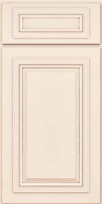 Square Raised Panel - Solid (AA7M) Maple in Dove White w/Cocoa Glaze - Base