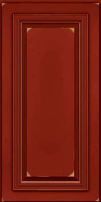 Square Raised Panel - Solid (AA7C) Cherry in Vintage Cardinal w/Onyx Patina - Wall