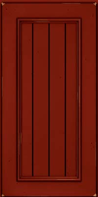 Square V - groove - Solid (AA9C) Cherry in Vintage Cardinal w/Onyx Patina - Wall
