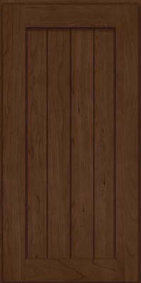 Square V - groove - Solid (AB0C) Cherry in Saddle Suede - Wall