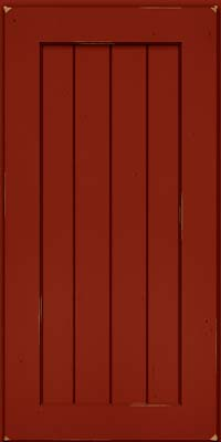 Square V - groove - Solid (AB0C) Cherry in Vintage Cardinal - Wall