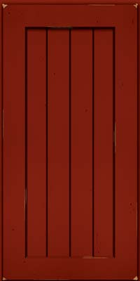 Square V - groove - Solid (AB0C) Cherry in Vintage Cardinal w/Onyx Patina - Wall