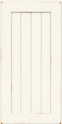 Square V - groove - Solid (AB0C) Cherry in Vintage Dove White - Wall