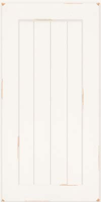 Square V - groove - Solid (AB0C) Cherry in Vintage Dove White w/ Cinder Patina - Wall