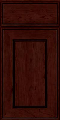 Square Raised Panel - Solid (AB1C) Cherry in Cabernet w/Onyx Glaze - Base