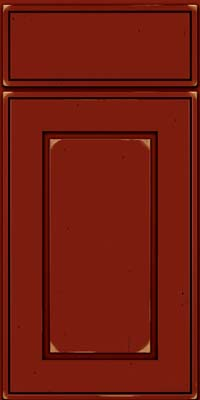 Square Raised Panel - Solid (AB1C) Cherry in Vintage Cardinal w/Onyx Patina - Base