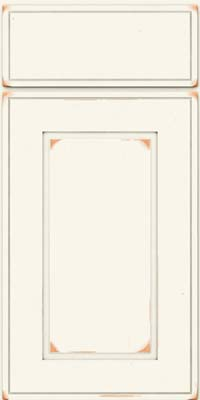 Square Raised Panel - Solid (AB1C) Cherry in Vintage Dove White - Base