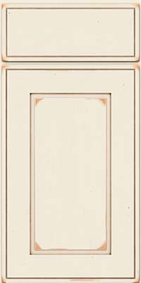 Square Raised Panel - Solid (AB1C) Cherry in Vintage Dove White w/Cocoa Patina - Base