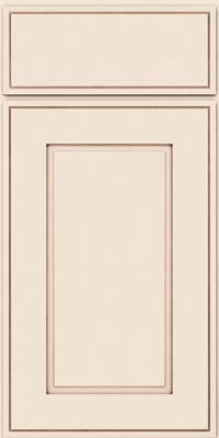 Square Raised Panel - Solid (AB1M) Maple in Dove White w/Cocoa Glaze - Base