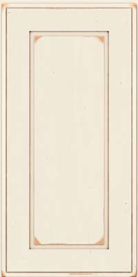 Square Raised Panel - Solid (AB1C) Cherry in Vintage Dove White w/Cocoa Patina - Wall