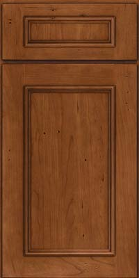 Square Recessed Panel - Solid (AB3C) Cherry in Antique Chocolate w/Mocha Glaze - Base