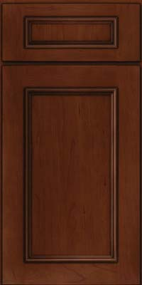 Square Recessed Panel - Solid (AB3C) Cherry in Autumn Blush w/Onyx Glaze - Base