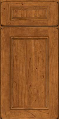 Square Recessed Panel - Solid (AB3C) Cherry in Burnished Golden Lager - Base
