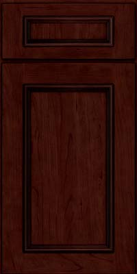 Square Recessed Panel - Solid (AB3C) Cherry in Cabernet w/Onyx Glaze - Base